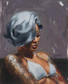 As pinturas a óleo de mulheres tatuadas com um toque pin-up de Chris Guest