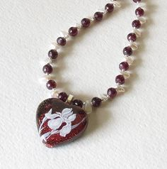Red Garnets Sterling Silver Dichroic Glass Pendant by Smokeylady54