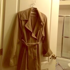 Perry Ellis Trench Coat Lovely Perry Ellis Worsted Wool Full Length Trench Coat with Belt. No size listed but estimated at 14.  Can take any measurements requested.  Price negotiable. Perry Ellis Jackets & Coats Trench Coats
