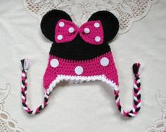 Hot Pink Minnie Mouse Crochet Hat - Photo Prop - Available in Any Size or Color Combination