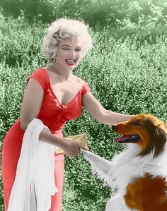 Marilyn Monroe & Lassie at the Ray Anthony Party