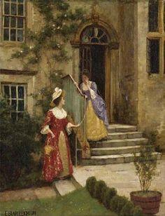 The Gossip, by Edmund Blair Leighton (English, 1853–1922).