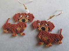 Dachshund Earrings in Delica seed beads by DsBeadedCrochetedEtc