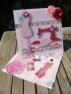Twisted Easel Card made with Sewing Bird paper