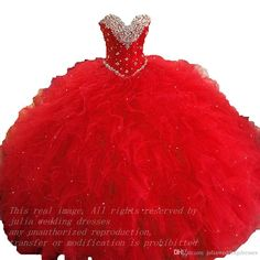 Real Image 2016 Red Quinceanera Dresses Ball Gown Ruffles Beaded Crystals Floor…