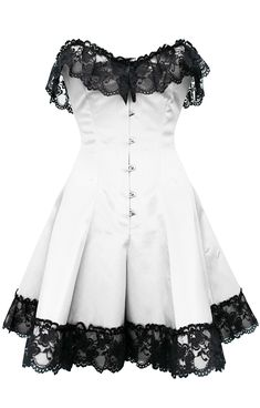 Corset: GC-1042 STOCK White Classic Satin Skirted Lace Overlay Overbust Corset