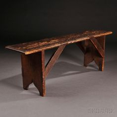 Shaker Pine Bench, New Lebanon, c. the seat with molded edge joined to the cutout feet by diagonal mortised braced supports, old worn brown-stain surface, H. Benches For Sale, Wood Projects, Woodworking Projects, New Lebanon, Antique Bench, Cool Furniture, Furniture Ideas, Dry Sink, San Jose