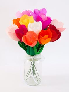 Colourful and bright German doublette crepe paper tulips!