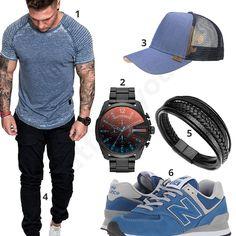 Schwarz-Blauer Street-Style mit Cap, Shirt und Sneakern #shirt #diesel #uhr #newbalance #djinns