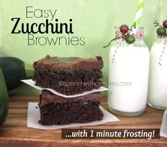 Easy Zucchini Brownies with 1 minute Frosting!  These are quick and amazing to make...  and the zucchini keeps them so moist and amazing!  The frosting is ridiculously yummy and only takes a minute to make!