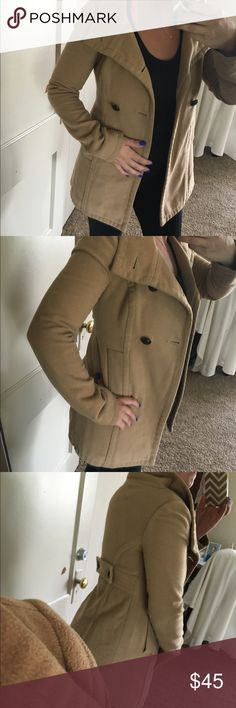 Gorgeous pea coat silent+noise Peanut butter cream in color wool and polyester blend silence + noise Jackets & Coats Pea Coats