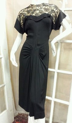 Vintage 50s 60s Black Sheath Dress with Nude Lined Lace Bodice Back Metal Zipper