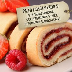Paleo piskóta tekercs Sponge Cake Roll, Healthy Desserts, Low Carb Recipes, Food And Drink, Keto, Meals, Baking, Health Desserts, Low Carb