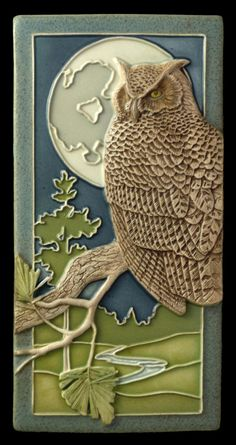 "Ceramic tile animal art bird art home decor by Medicine Bluff Studio, $68.00 ""Night Owl"" , original owl sculpture that inspired ""Night Shift""."