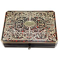 Antique French Game Box,Tortoise Shell Boulle with Ivory Chips