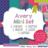 Digital Paper and Frames Mini Set Avery. Navy, purple, turquoise, lime green, gray, and hot pink.