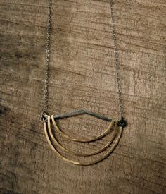 SHORELINE - Hammered Necklace with Bronze and Dark Oxidized Sterling Silver on Etsy, $58.00