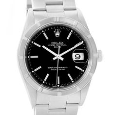 Rolex Date Black Dial Stainless Steel Mens Watch 15210 Box Papers