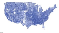 US rivers in the contiguous 48 by Nelson Minar, via Flickr