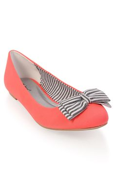 Deb Shops #ballet #flat with striped bow