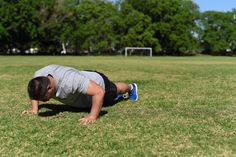 Walking Push Up. Step Two: Slowly lower your body until your chest touches the ground.
