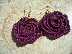 pretty earrings! DIY Macrame Rose Earrings
