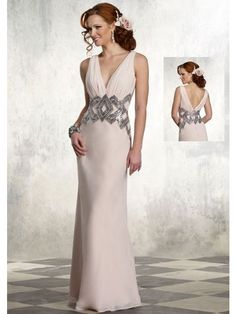 Column Deep V-Neck Floor-Length Ivory Chiffon With Sequins Waistband Mother Of The Bride Dresses