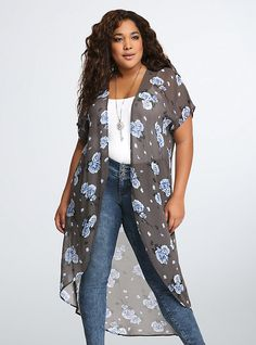 Rose Print Chiffon Duster. I want this soooo badly. Maybe if I hint enough, my hubby will buy it for my birthday?