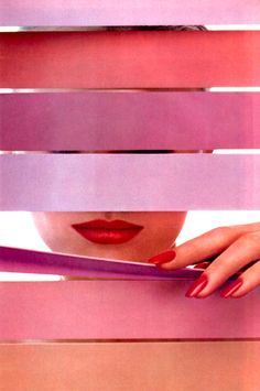 Revlon, American Vogue, June 1984. Shades of pink.