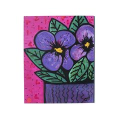 Purple Pansies Wall Art - Original Mixed Media Floral Still Life - Pink and Purple Flower Painting by Claudine Intner Pink And Purple Flowers, Handmade Stamps, Using Acrylic Paint, Mixed Media Painting, Paint Markers, Pansies, Flower Art, Art Decor, Original Art