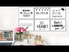 Voici quelques phrases qui trouveront tout naturellement leur place devant un bureau, dans une chambre. Ils sauront tout au long de l'année vous apporter reflexion, motivation, encouragements. Le noir et blanc et l'écriture pailletée en relief leur apporte chic de design.