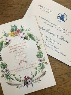 Convites de casamento de Ana Beatriz Barros. #tropical #aloha #invitation