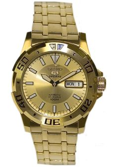 Price:$127.49 #watches Seiko SNZJ46K1, This Seiko Automatic Sport Timepiece is a great find. Gold Plated, with automatic movement and Day/Date .