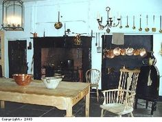 The Georgian House Kitchen. The massive fireplace has a spit, a rod on which large joints of meat such as ribs of beef and legs of lamb could be roasted. Pans resting on the fire or in the hearth on hot coals cooked the vegetables and sauces needed for the meal. Beside the fire is the bread oven, used for making pies and the many loaves of bread required daily.