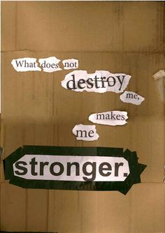 What does not destroy me makes me stronger.