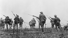 Troops going over the top at the Somme