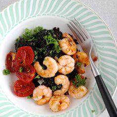 Zwarte rijst met garnalen en tomaatjes - Liefde voor lekkers