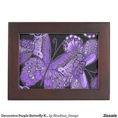 Shop Decorative Purple Butterfly Keepsake Box created by BlueRose_Design. Wooden Keepsake Box, Keepsake Boxes, Mahogany Color, Purple Butterfly, Black Velvet, Colorful Backgrounds, Friends, Frame, Fabric