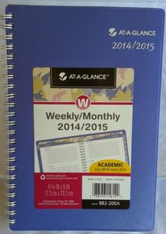 LIGHT PURPLE At A Glance Weekly Monthly 2014/2015 Academic Planner 5 x 8 in Business & Industrial | eBay