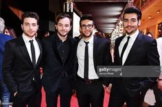 Lorenzo Fragola with Piero Barone, Gianluca Ginoble and Ignazio Boschetto of Il Volo are seen backstage ahead of Bocelli and Zanetti Night on May 25, 2016 in Rho, Italy.