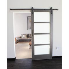 Pacific Entries 36 in. x 84 in. 4-Lite Driftwood Clear Coat Finish wood Interior Barn Door with Oil Rubbed Bronze Sliding Door Hardware-CDR2044-3684-10B - The Home Depot