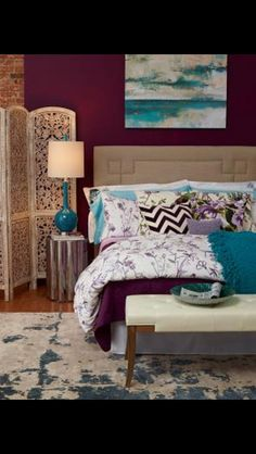 relaxing bedroom...love the colors