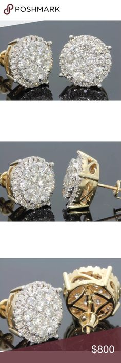 Large 2.25 carat 10k yellow gold diamond earrings Large 2.25 carat 10k yellow gold diamond earrings! High quality diamonds! Retail over $1500! Jewelry Earrings