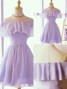 Simple Light Purple Chiffon Off the Shoulder Bridesmaid Dres.- Simple Light Purple Chiffon Off the Shoulder Bridesmaid Dress, Short Party Dress - Simple Short Dresses, Elegant Dresses, Women's Dresses, Beautiful Dresses, Casual Dresses, Fashion Dresses, Formal Dresses, Wedding Dresses, Summer Dresses