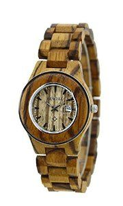 $50 Amazon.com: Ideashop® Fashion ZebraWood Steel Ring Case Watches Lovers' Watch Gift With Date Calendar for Women: Watches
