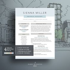 clean modern design 4 pages resume template pack for ms word