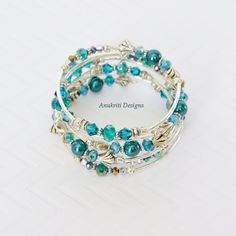 Teal Beaded Memory Wire Bracelet Free shipping by AnukritiDesigns