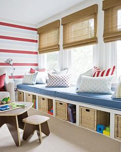 bench seating in kids room | ... seat, cushions in light colors with red stripes, storage baskets, kids