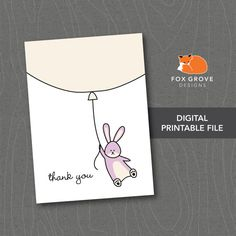 Thank You Cards Up Up and Away / Instant by FoxGroveDesigns