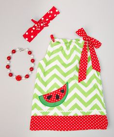 Another great find on #zulily! Green Watermelon Dress Set - Infant, Toddler & Girls #zulilyfinds